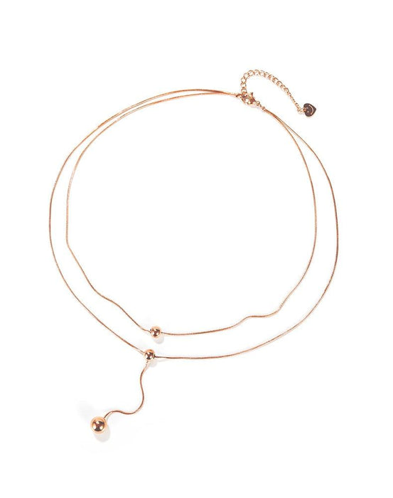 Womens Necklaces Dangle Bead Double Levels  Sweater Link Chains Rose Gold Stainless Steel  Pendant Jewelry