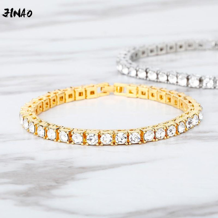 new Hip hop Bracelet Tin Alloy Gold Silver color Iced Rhinestone Crystal 1 Row Tennis Chain Bracelet for man women gift