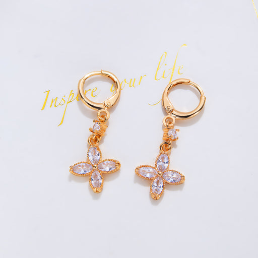 Fashion colored diamond temperament flower pendant earrings, gold-plated copper earrings
