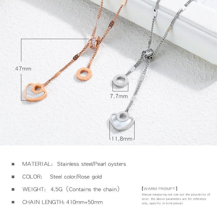 Korean Rose Gold Necklace Titanium Steel Necklace Female Heart-Shaped White Shell Roman Circle Crystal Clavicle Chain