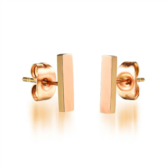 Classical Bar Stud Earrings For Women Rose Gold Color 3 Size Hight Plished Party Bridesmaid Jewelry Gift
