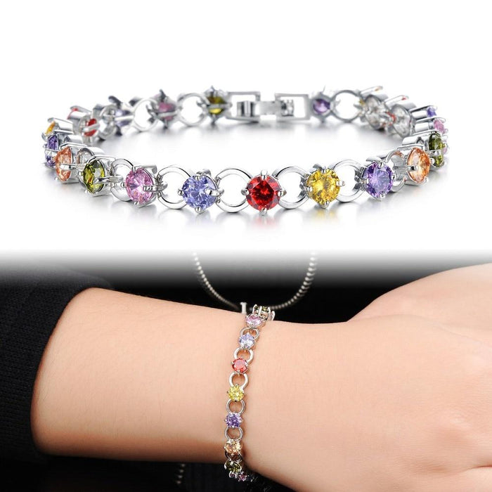 Classical Multicolor/White Rhinestone Women Bracelets Delicate Girls' Gift White Gold Color Link Chain Jewelry Bangle