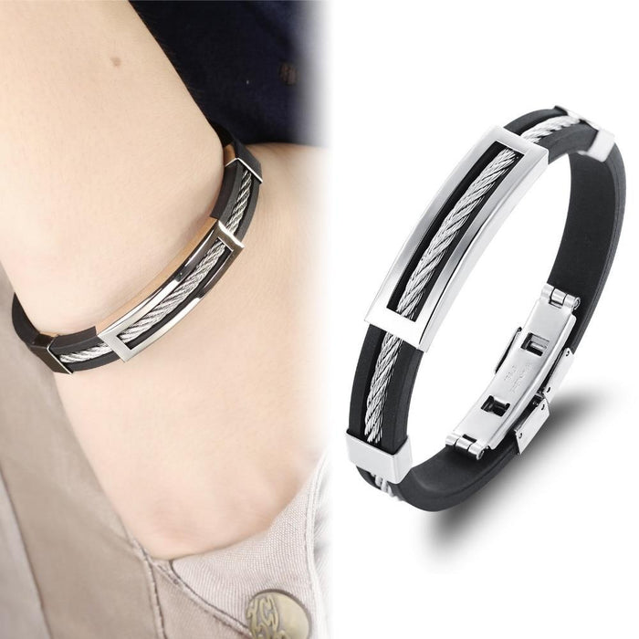 Cool Man Genuine Silicone Bangles Fashion Stainless Steel Hol Out Men Jewelry 19.5cm Long Accessories Cheap