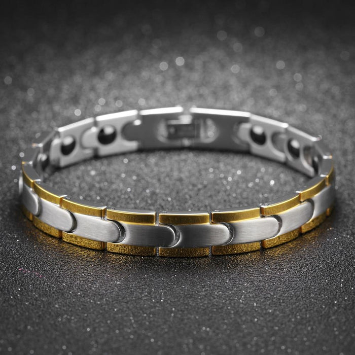 Fashion Healthy Magnetic Bracelet For Men Women Two Tone Gold Color Link Chain Stainless Steel Charm Punk Energy Gift