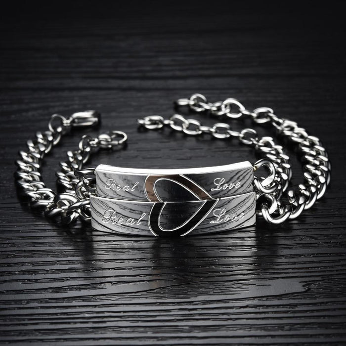 Half Heart Puzzle Couple Bracelet Romantic Real Love Stainless Steel Chain & Link Bracelets Fashion Jewelry For Women Men