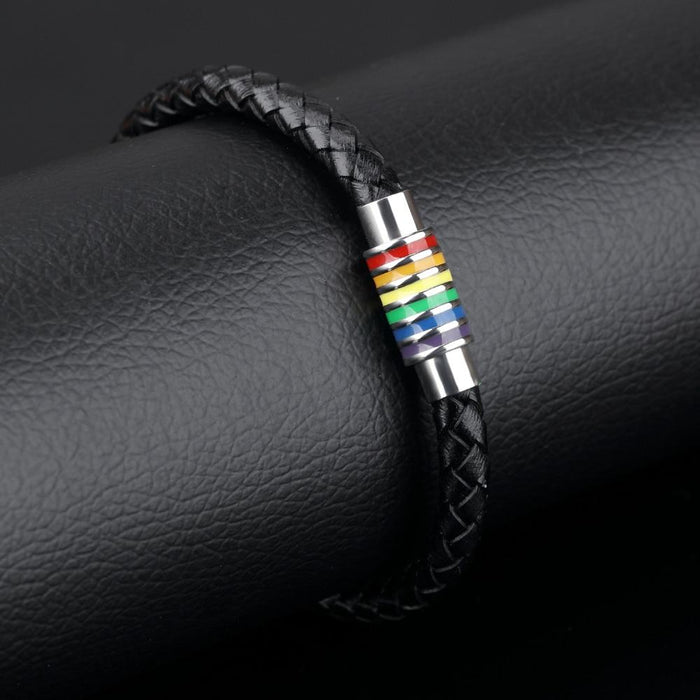 Handmade Leather Woven Charm Bracelet Fashion Gay Pride Stainless Steel Bracelets Vintage Men Jewelry Wristband