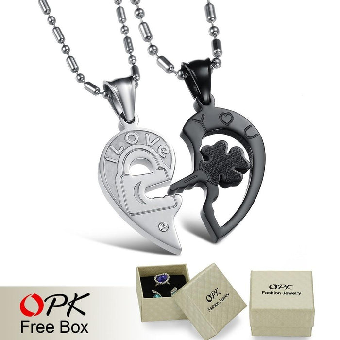 Heart and Key Puzzle Couple Necklace Stainless Steel Cool Black Style 1 pair