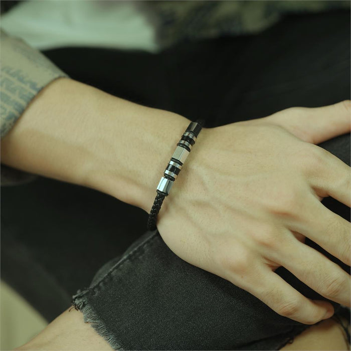 Men's Black Braided Bracelet Minimalist Design Magnetic Buckle Korean Style Steel Gold Accessories 7 JULY NEW ARRIVAL