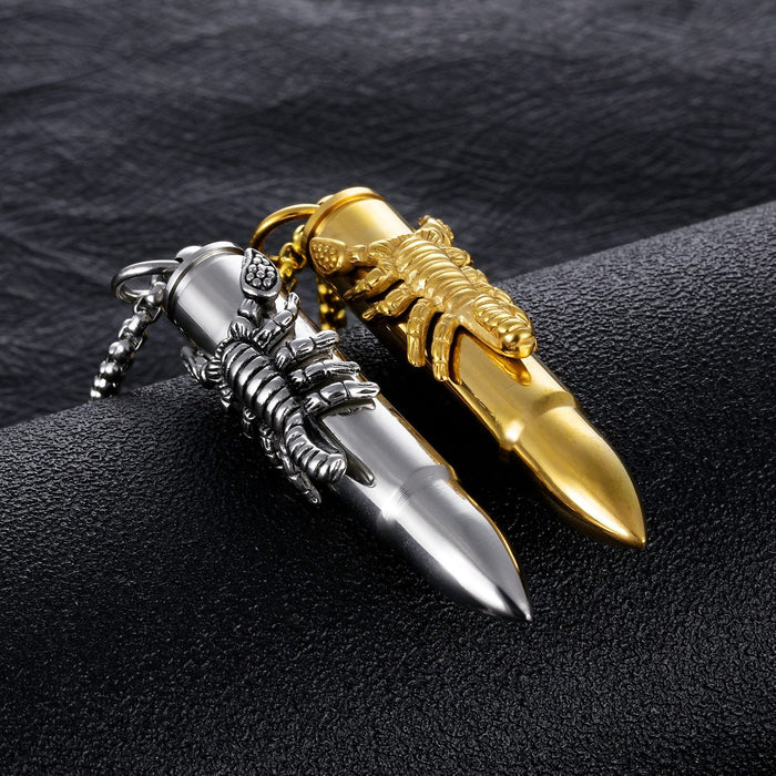 New Arrival Vintage Scorpion Bullet Pendant Necklace For Male Jewelry Gift 316L Stainless Steel Men Jewelry Necklace