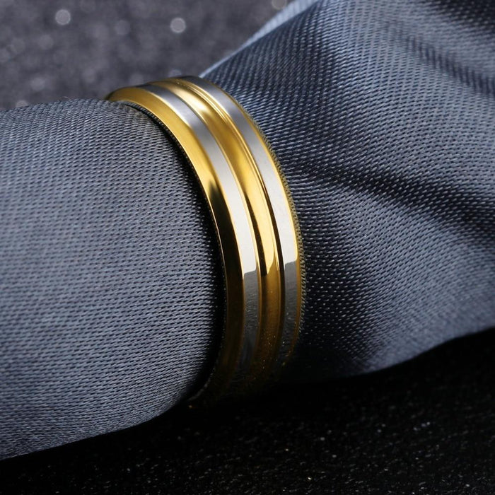 Punk Gold Color Strip Ring For Men Smooth Design Stainless Steel Male Finger Band Jewelry Party Birthday Gift