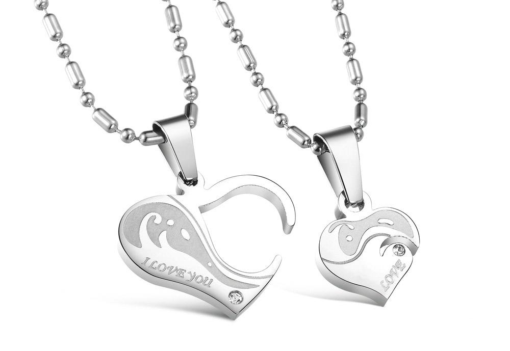 Romantic Gift For Valentine's & Christmas Day Heart Puzzle Design Pendant Stainless Steel Vintage Necklace Women Men Jewelry