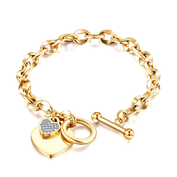 Women Bracelet Link Rose Gold Tone Crystal Love Heart Tag Engrave Toggle Clasp Designer Charm Stainless Chain Bangle