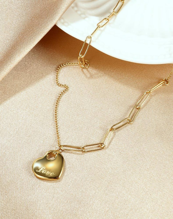Women Chain Necklace Love Heart Gold Tone Stainless Steel Necklaces for Gilrfriend