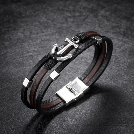 Fashion Anchor Multilayer Titanium Steel Leather Bracelet Vintage Men's Bracelet Leather Bracelet