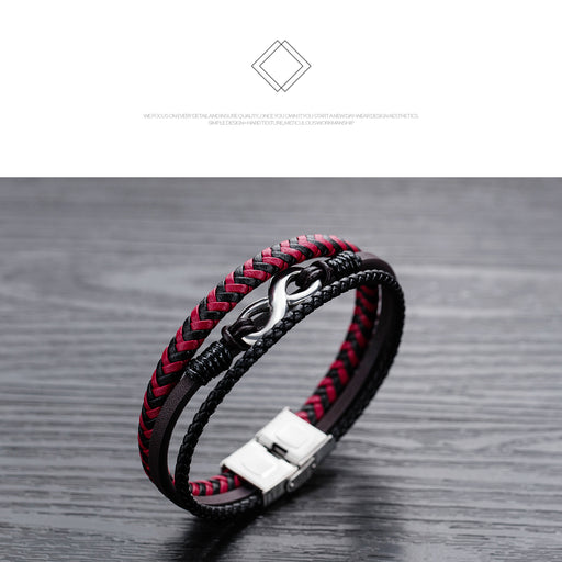 Men's leather infinity figure 8 bracelet titanium steel bracelet