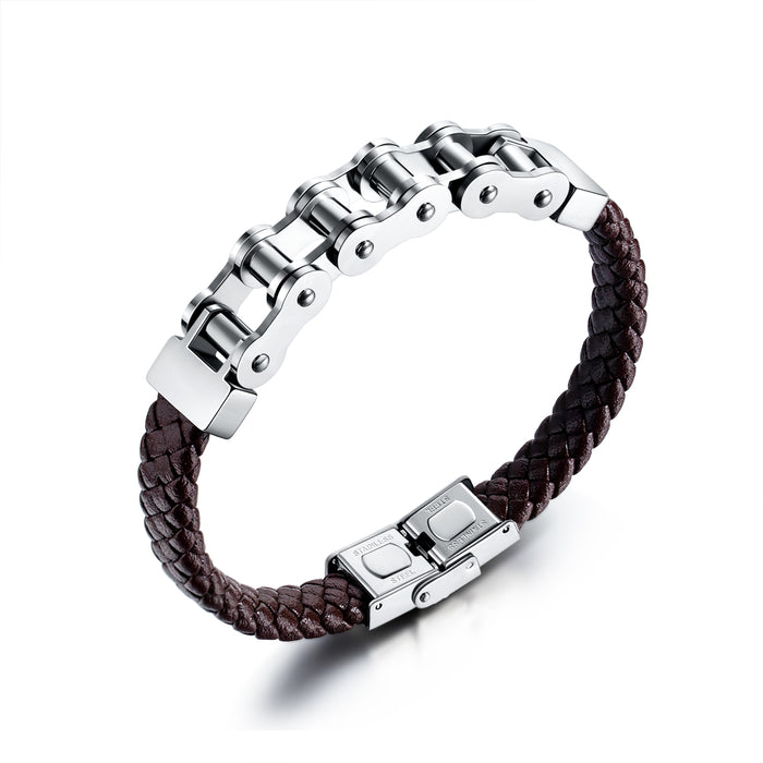 Fashionable Personality Domineering Titanium Steel Bicycle Chain Braided Leather Rope Bracelet