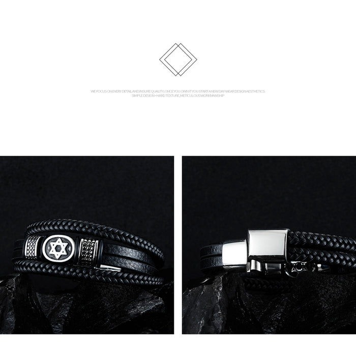 Vintage six-pointed star leather bracelet Fashion braided leather cord bracelet