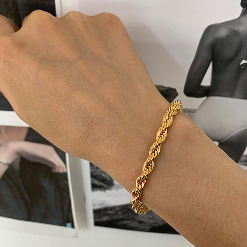 5mm Thick Twisted Cable Chain Bracelets Gold Color Chunky Rope Bracelets for Women Vintage Bracelet 2020 Hot Jewelry