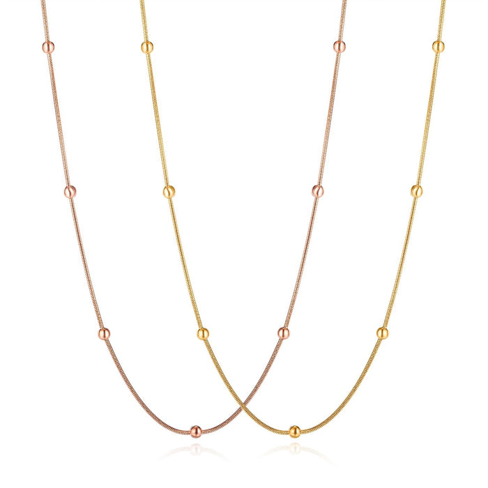 Women Chain Link Necklace Rose Gold/ Gold Minimalist Design Bead Clavicle Chain Stainless Steel Geometric Fashion