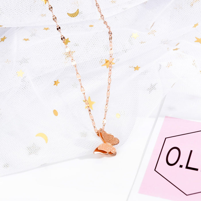 Women Chain Necklace Rose Gold Butterfly Clavicle Chain Stainless Steel Design  Necklaces Fashion Jewelry