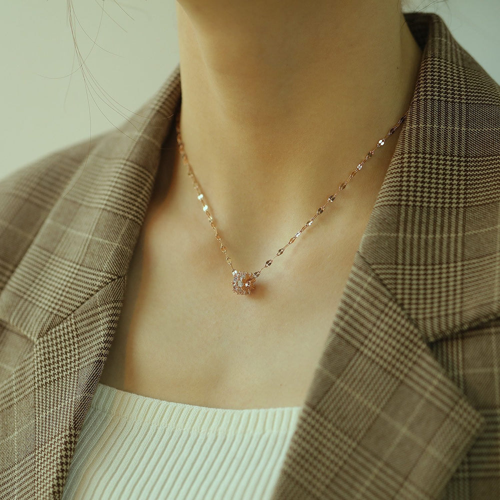 Women Chain Necklace Rose Gold/ Gold Minimalist Round CZ Shiny Unique Clavicle Chain Stainless Steel Copper