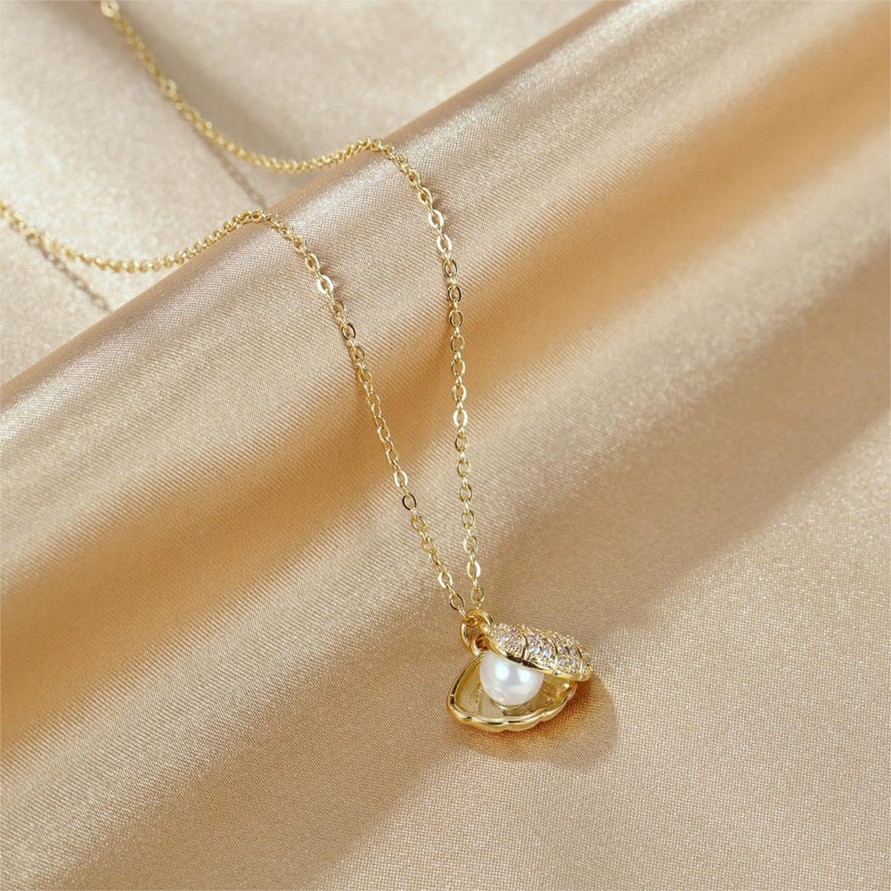 Women Chain Necklace Rose Gold/ Gold Shell Pearl Clavicle Chain Stainless Steel Design  Necklaces Fashion Jewelry