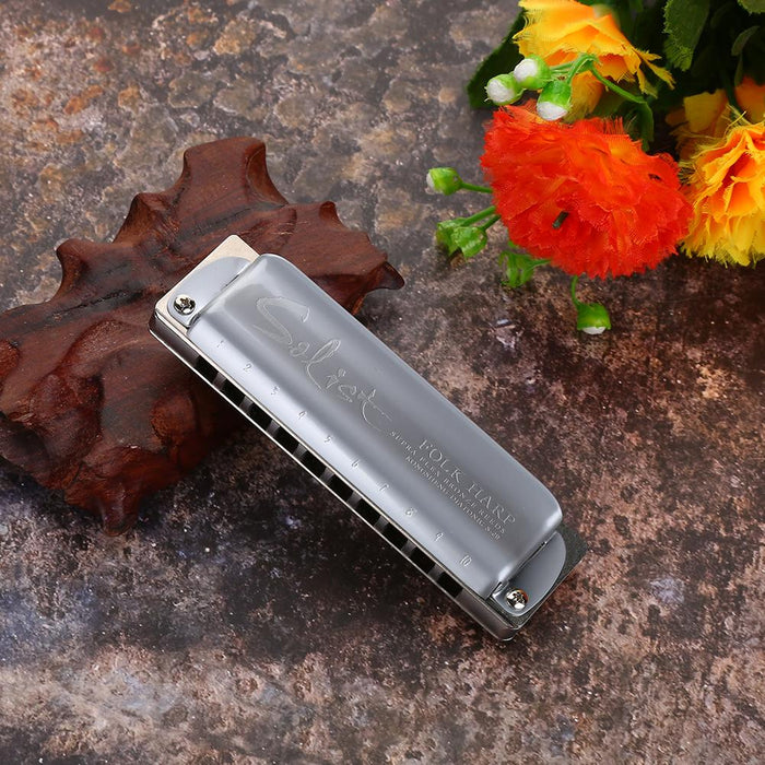 Professional Stainless Steel Blues Harmonica C Key Music Instrument for Kids and Adults