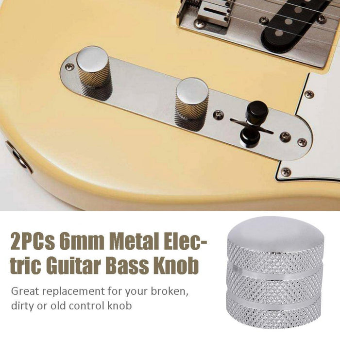 2PCs Metal Electric Guitar Bass Dome Knobs