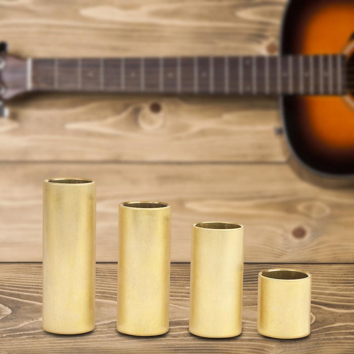 4pcs Electric Guitar Finger String Slide Bar Slider Accessories Brass Color