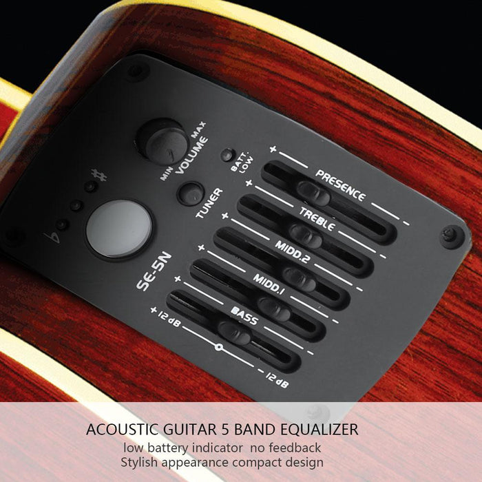 SE-5N?5 Band EQ Equalizer Pickup Tuner for Acoustic Guitar Musical Instrument Accessory Kit