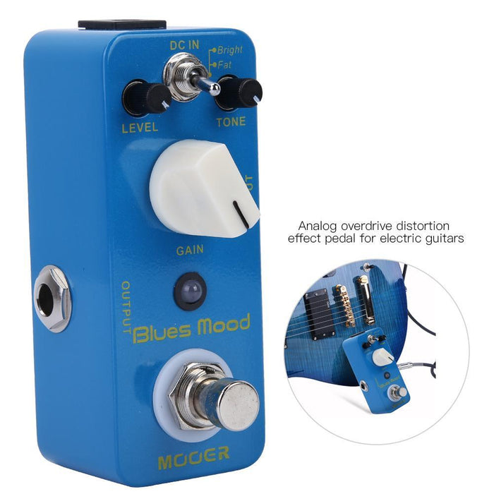 Blues Style Overdrive Guitar Effect Pedal 2 Modes(Bright/Fat) True Bypass Full Metal Shell