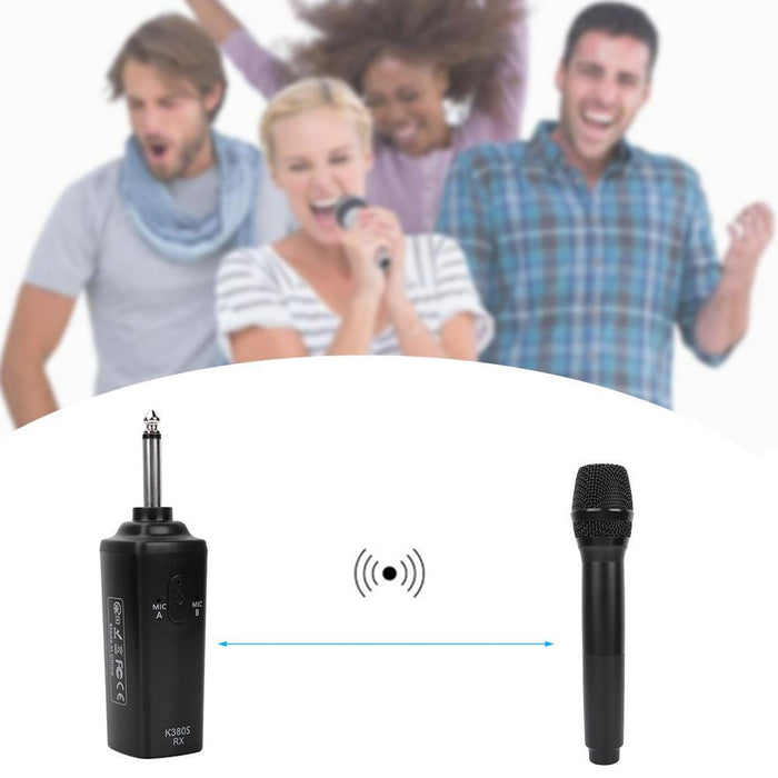 UHF Audio Mic Set Wireless Rechargeable Dual Handheld Microphones Black