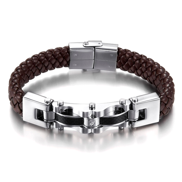 Armageddon Wing Men's Stainless Steel Bracelet (Brown)