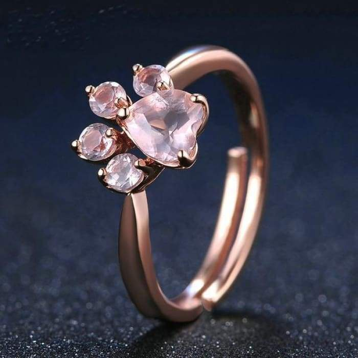 "Rose Quartz and 925 Silver ""Patte d'Amour"" ring"