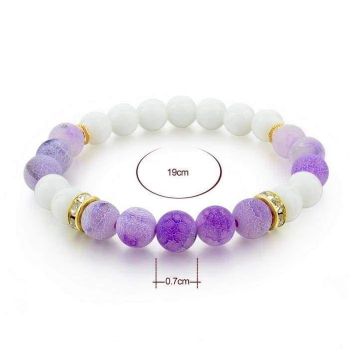White and Violet Agate Bracelet