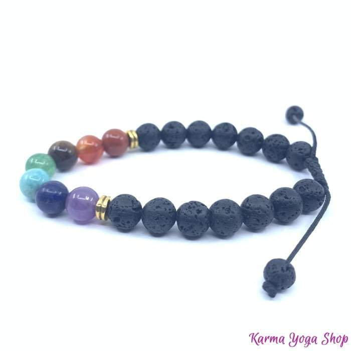 "Bracelet ""Healing of the 7 chakras"" in Lava Stones - Adjustable"