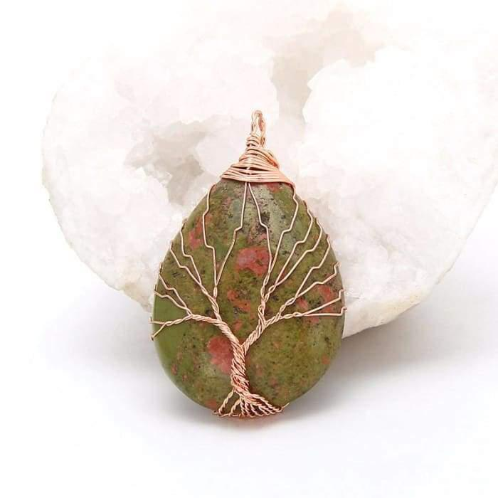 "Handmade ""Tree of Life"" Necklace in Semi-Precious Stones"