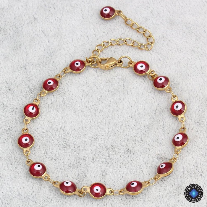 Gold Plated Stainless Steel Enamel Evil Eye Chain Bracelet