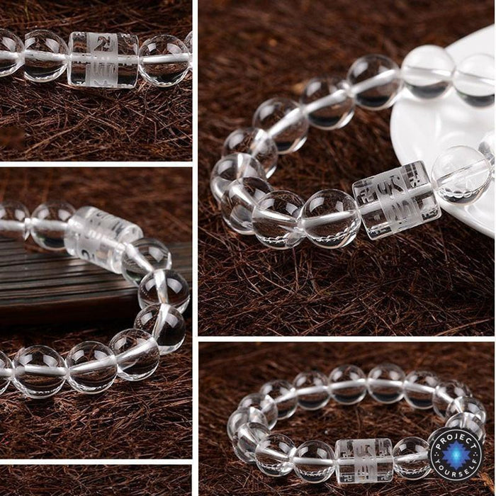 Natural Clear Crystal Beads 6 Syllable Mantra Bracelet