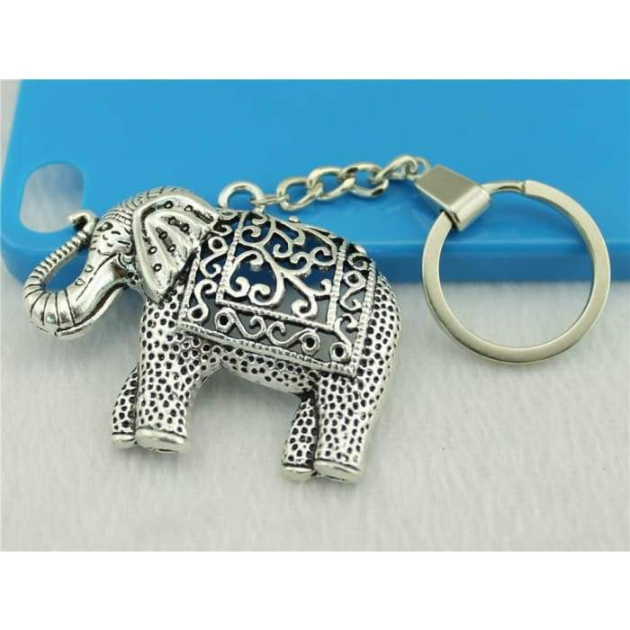 Antique Silver Elephant Keychain