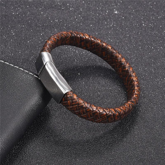 Blue Fire Stainless Steel Leather Bracelet