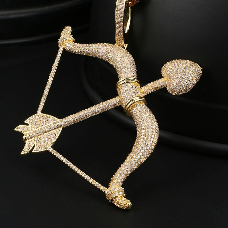 Men's Hip Hip Pendant Necklace - Rhinestone Bow Arrow Pendant