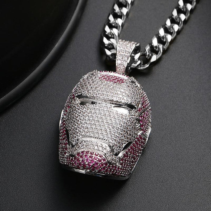 Iron Man Mask Pendant Necklace- Men's Hip Hop Jewelry
