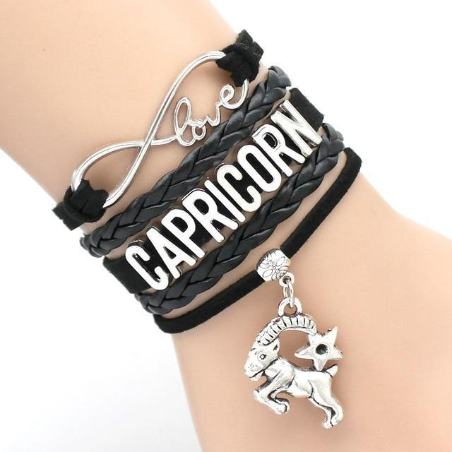 Infinity Love 12 Zodiac Sign Leather Bracelets