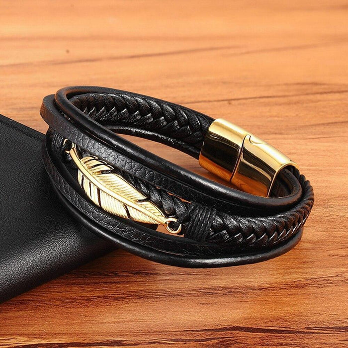 Stainless Steel Feather Multi-Layer Leather Bracelet