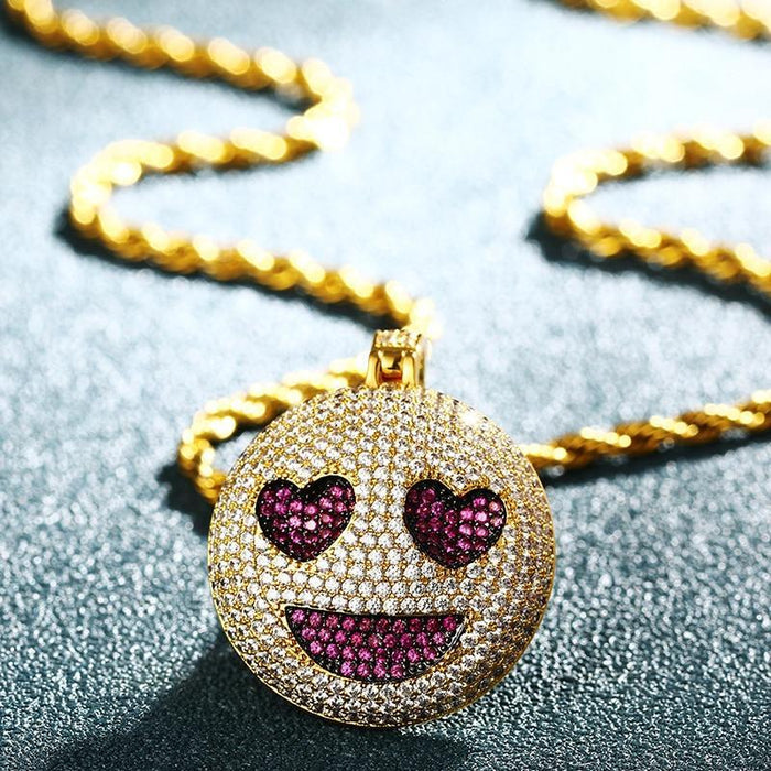 Hip Hop Smiley Face Pendant Necklace With Heart Eye
