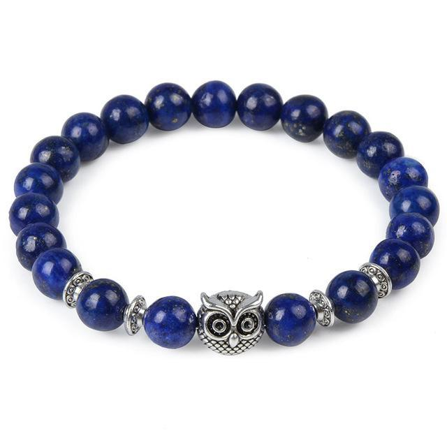 Animal Head Buddha Bead Natural Charm Stone Bracelet