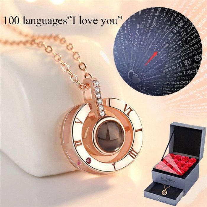 """ I Love You In 100 Languages Necklace"" Valentines Day Gift For Her"