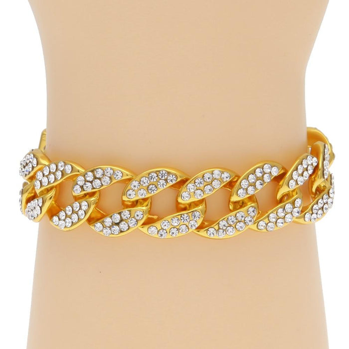 Hip Hop Bracelet- Iced Out 15mm Bling Full Rhinestone Cuban Link Chain