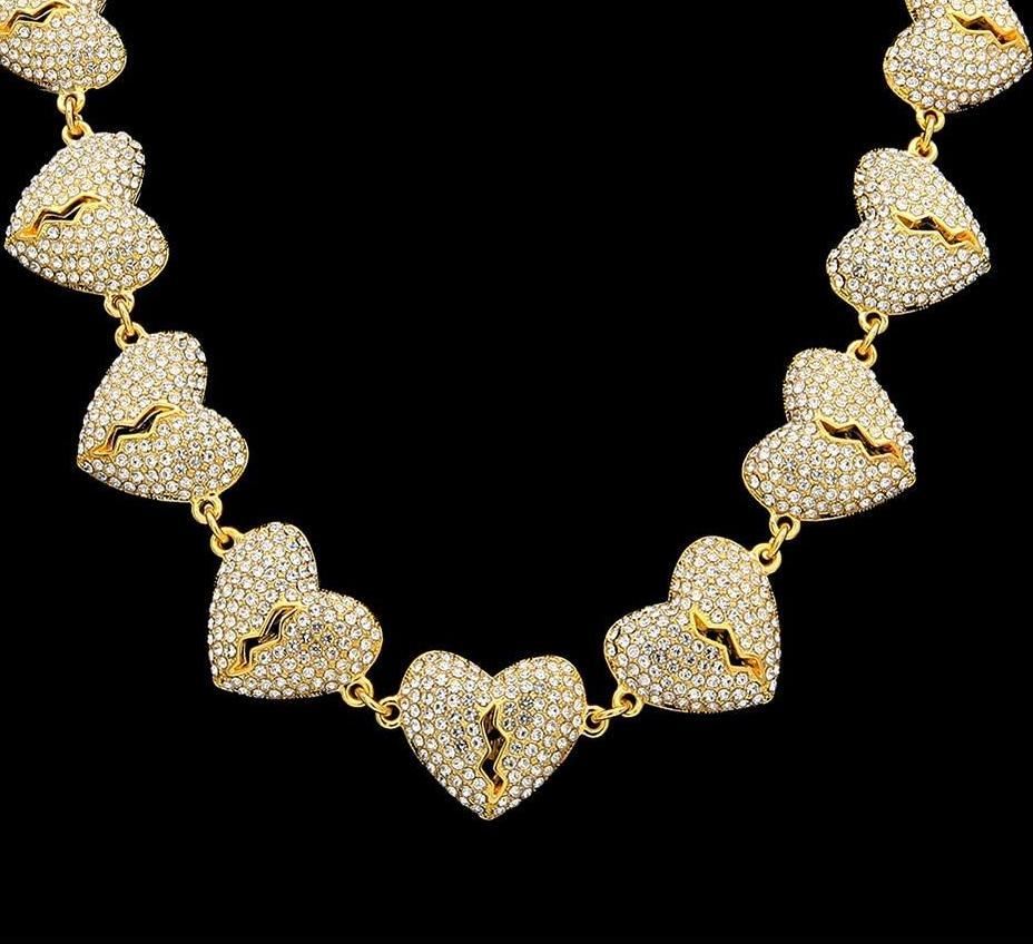 Broken Heart Necklaces Full Iced Out CZ Rhinestone Hip hop Jewelry